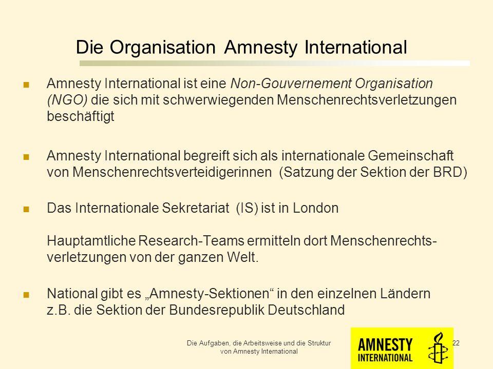 Die Organisation Amnesty International National gibt es Amnesty-Sektionen in den einzelnen Ländern z.B.
