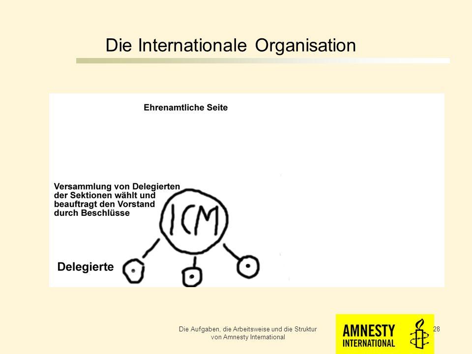 Die Internationale Organisation Die Aufgaben, die Arbeitsweise und die Struktur von Amnesty International 27