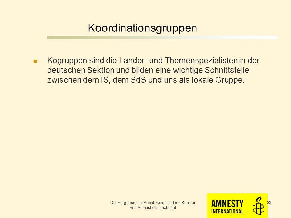 Die Sektion der Bundesrepublik Deutschland Die Aufgaben, die Arbeitsweise und die Struktur von Amnesty International 37