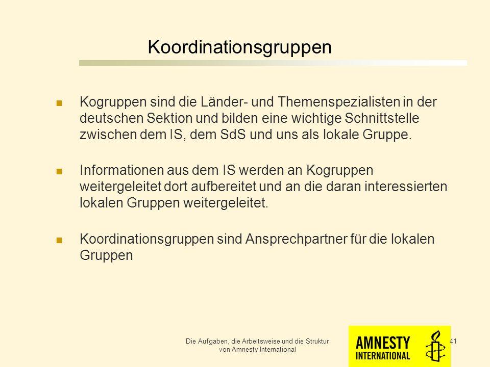 Koordinationsgruppen Koordinationsgruppen sind Ansprechpartner für die lokalen Gruppen Die Aufgaben, die Arbeitsweise und die Struktur von Amnesty International 40