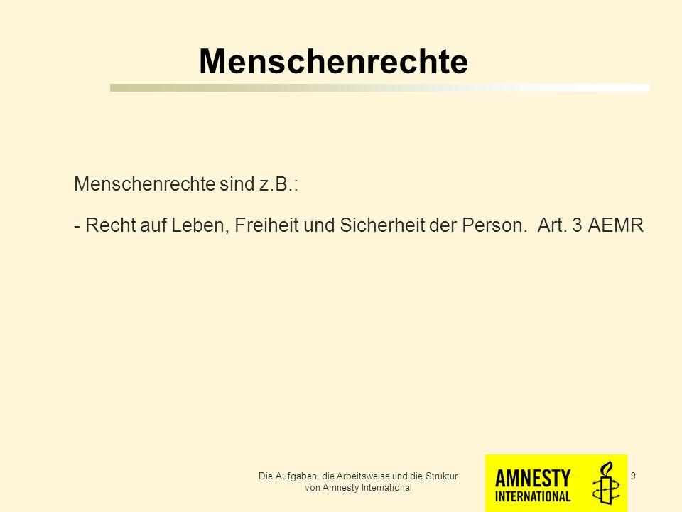 Menschenrechte Die Menschenrechte stehen in der Allgemeinen Erklärung der Menschenrechte (AEMR) der Vereinten Nationen Die Aufgaben, die Arbeitsweise und die Struktur von Amnesty International 8