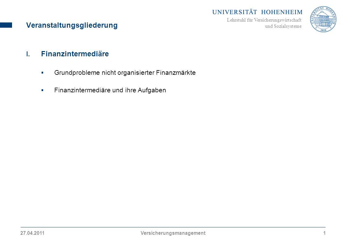 Lehrstuhl für Versicherungswirtschaft und Sozialsysteme I.