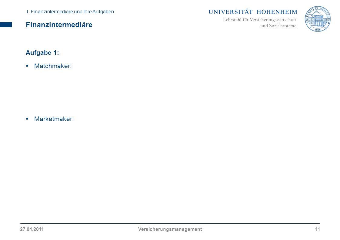 Lehrstuhl für Versicherungswirtschaft und Sozialsysteme Finanzintermediäre Aufgabe 1: Matchmaker: Marketmaker: I. Finanzintermediäre und Ihre Aufgaben