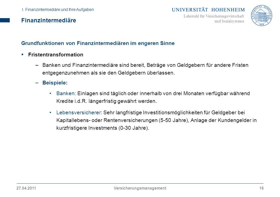 Lehrstuhl für Versicherungswirtschaft und Sozialsysteme Finanzintermediäre Grundfunktionen von Finanzintermediären im engeren Sinne Fristentransformat