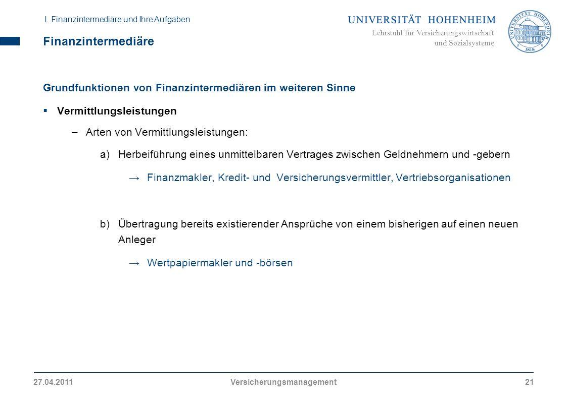 Lehrstuhl für Versicherungswirtschaft und Sozialsysteme Finanzintermediäre Grundfunktionen von Finanzintermediären im weiteren Sinne Vermittlungsleist