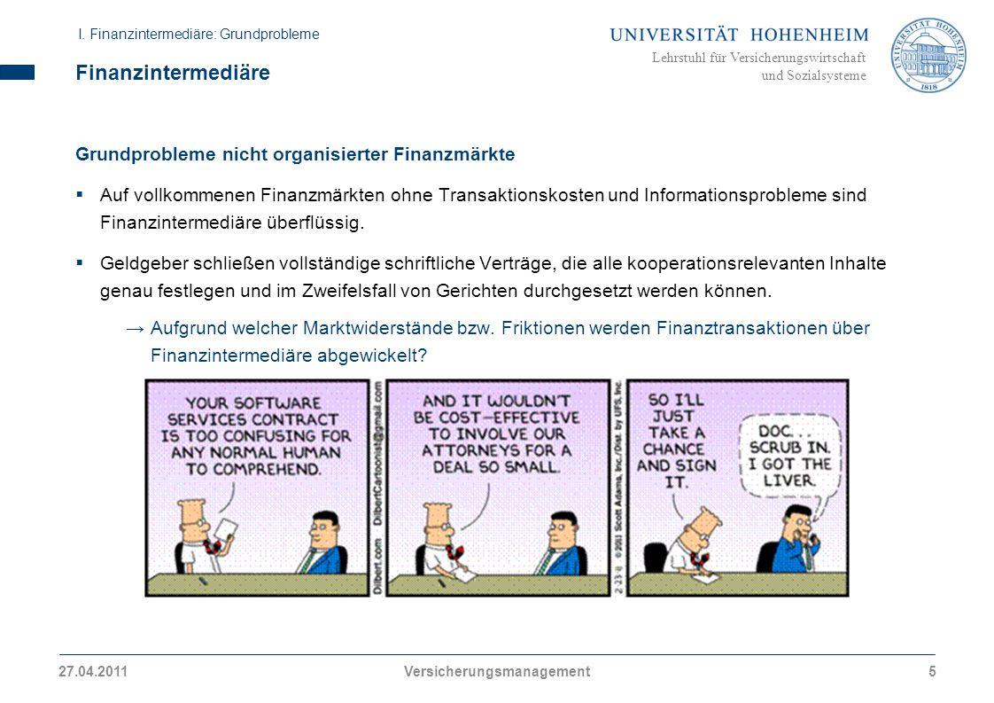 Lehrstuhl für Versicherungswirtschaft und Sozialsysteme Finanzintermediäre Grundprobleme nicht organisierter Finanzmärkte Auf vollkommenen Finanzmärkt