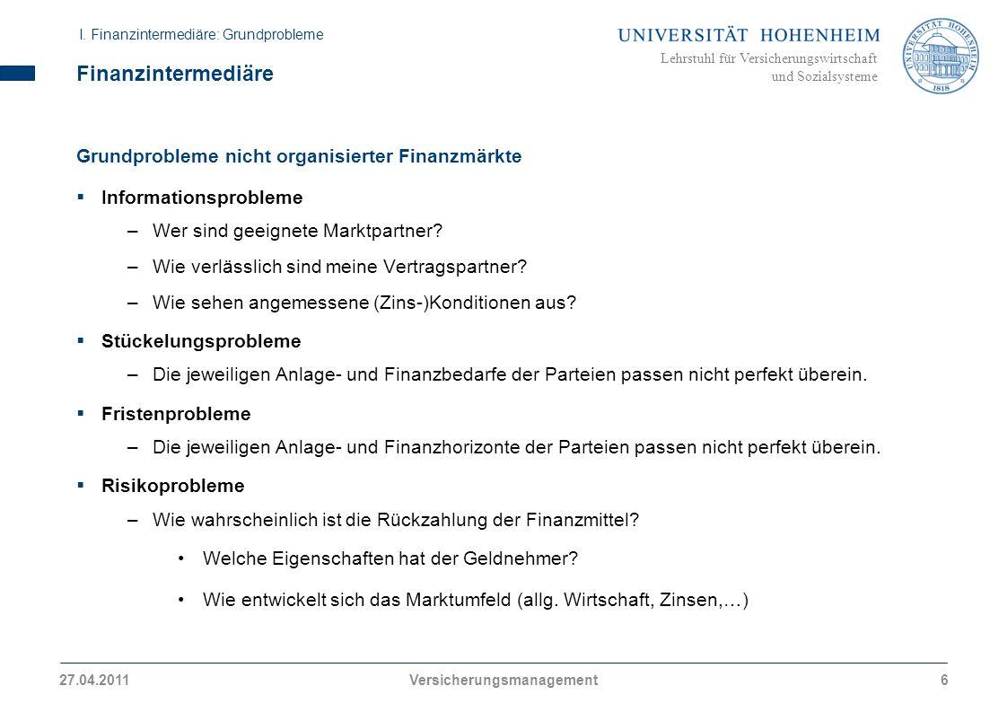 Lehrstuhl für Versicherungswirtschaft und Sozialsysteme Finanzintermediäre Grundprobleme nicht organisierter Finanzmärkte Informationsprobleme –Wer sind geeignete Marktpartner.