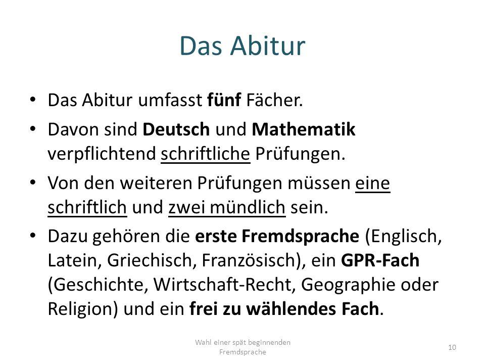 Das Abitur umfasst fünf Fächer.