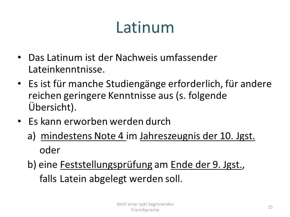 Das Latinum ist der Nachweis umfassender Lateinkenntnisse.