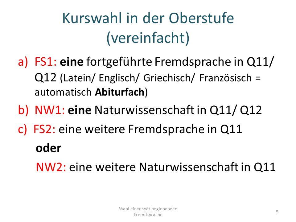 Kurswahl in der Oberstufe (vereinfacht) a)FS1: eine fortgeführte Fremdsprache in Q11/ Q12 (Latein/ Englisch/ Griechisch/ Französisch = automatisch Abiturfach) b)NW1: eine Naturwissenschaft in Q11/ Q12 c) FS2: eine weitere Fremdsprache in Q11 oder NW2: eine weitere Naturwissenschaft in Q11 5 Wahl einer spät beginnenden Fremdsprache