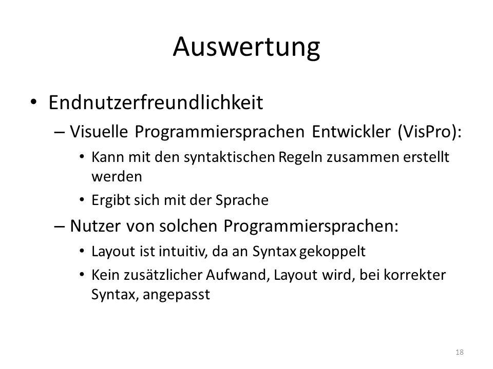 Auswertung Endnutzerfreundlichkeit – Visuelle Programmiersprachen Entwickler (VisPro): Kann mit den syntaktischen Regeln zusammen erstellt werden Ergi