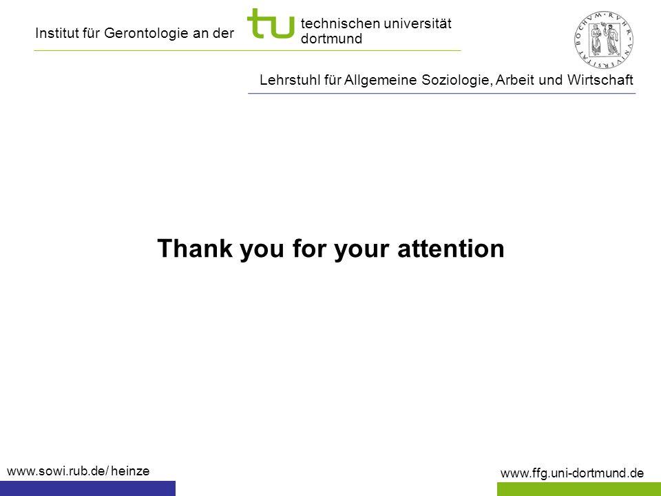 Institut für Gerontologie an der www.ffg.uni-dortmund.de technischen universität dortmund Thank you for your attention Lehrstuhl für Allgemeine Soziol