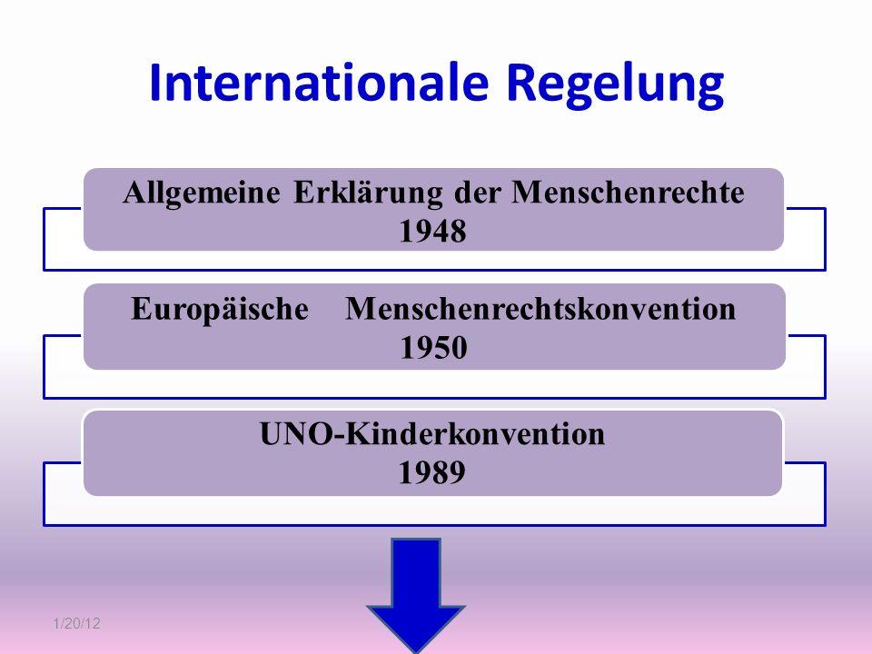 Internationale Regelung Allgemeine Erklärung der Menschenrechte 1948 Europäische Menschenrechtskonvention 1950 UNO-Kinderkonvention 1989 1/20/12