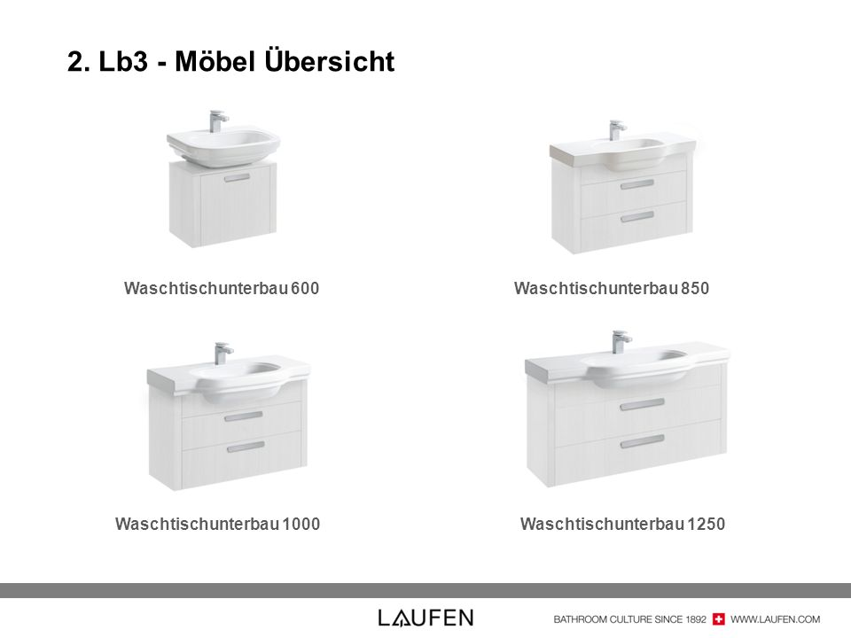 2. Lb3 - Möbel Übersicht Waschtischunterbau 600Waschtischunterbau 850 Waschtischunterbau 1000Waschtischunterbau 1250