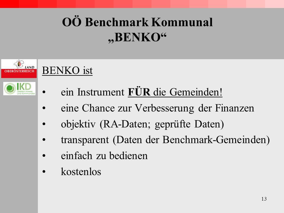 13 OÖ Benchmark Kommunal BENKO BENKO ist ein Instrument FÜR die Gemeinden.