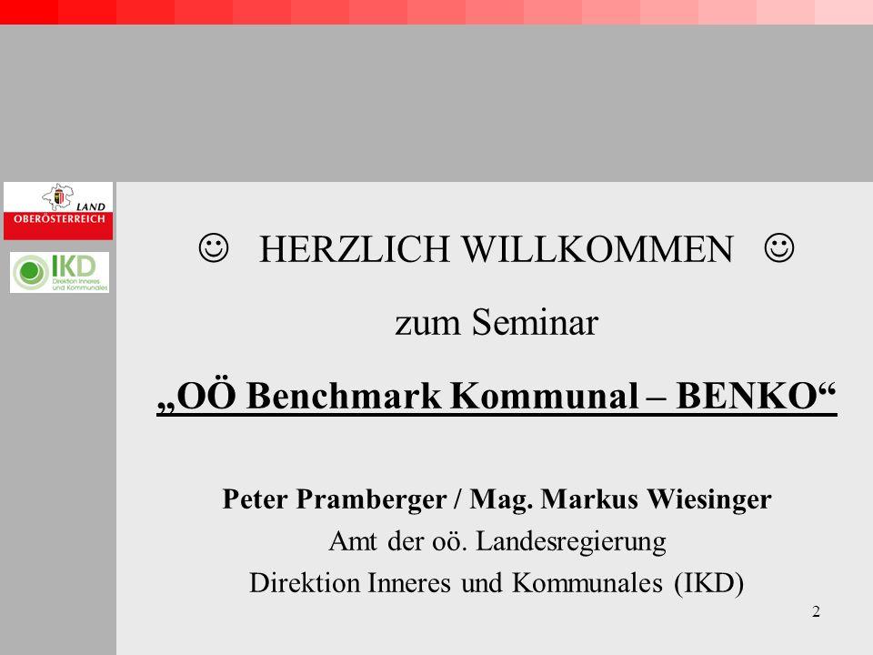 2 HERZLICH WILLKOMMEN zum Seminar OÖ Benchmark Kommunal – BENKO Peter Pramberger / Mag.
