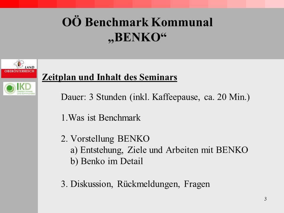 3 OÖ Benchmark Kommunal BENKO Zeitplan und Inhalt des Seminars Dauer: 3 Stunden (inkl.