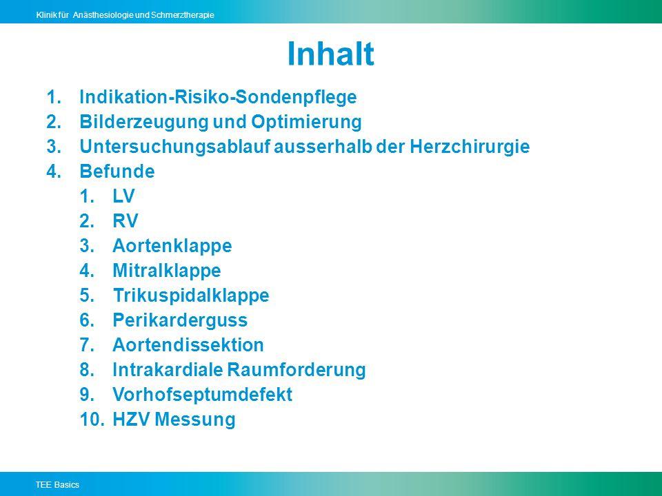 TEE Basics Klinik für Anästhesiologie und Schmerztherapie Inhalt 1.Indikation-Risiko-Sondenpflege 2.Bilderzeugung und Optimierung 3.Untersuchungsablauf ausserhalb der Herzchirurgie 4.Befunde 1.LV 2.RV 3.Aortenklappe 4.Mitralklappe 5.Trikuspidalklappe 6.Perikarderguss 7.Aortendissektion 8.Intrakardiale Raumforderung 9.Vorhofseptumdefekt 10.HZV Messung