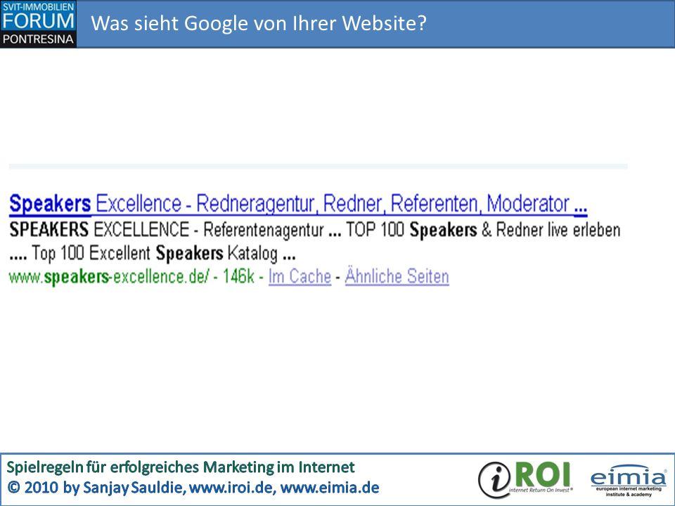 Was sieht Google von Ihrer Website