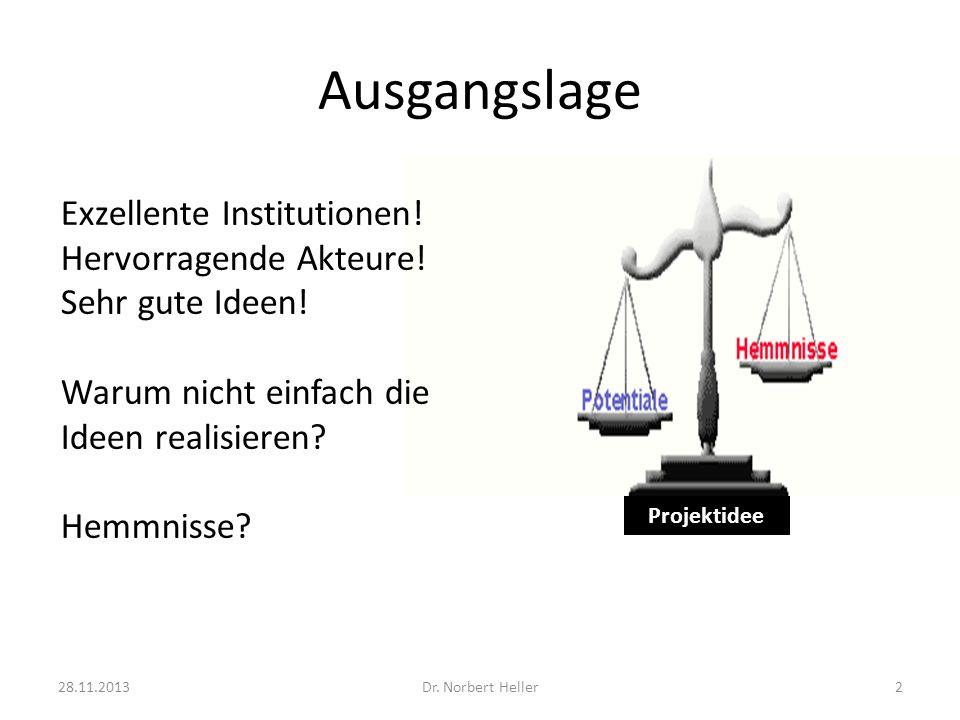 Ausgangslage 28.11.2013Dr. Norbert Heller2 Projektidee Exzellente Institutionen.