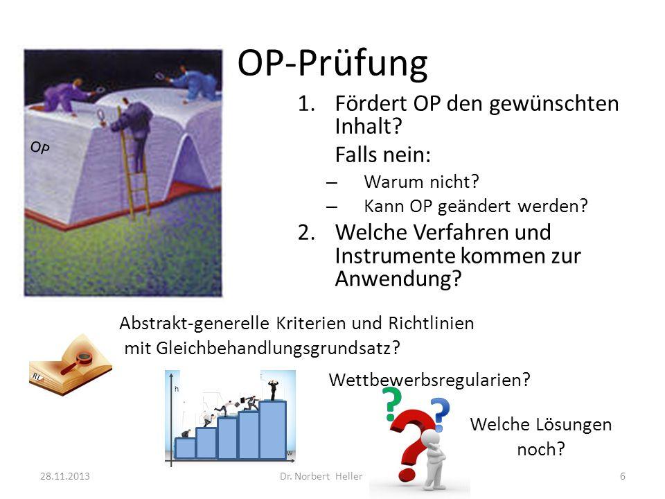 OP-Prüfung 28.11.2013Dr. Norbert Heller6 1.Fördert OP den gewünschten Inhalt.