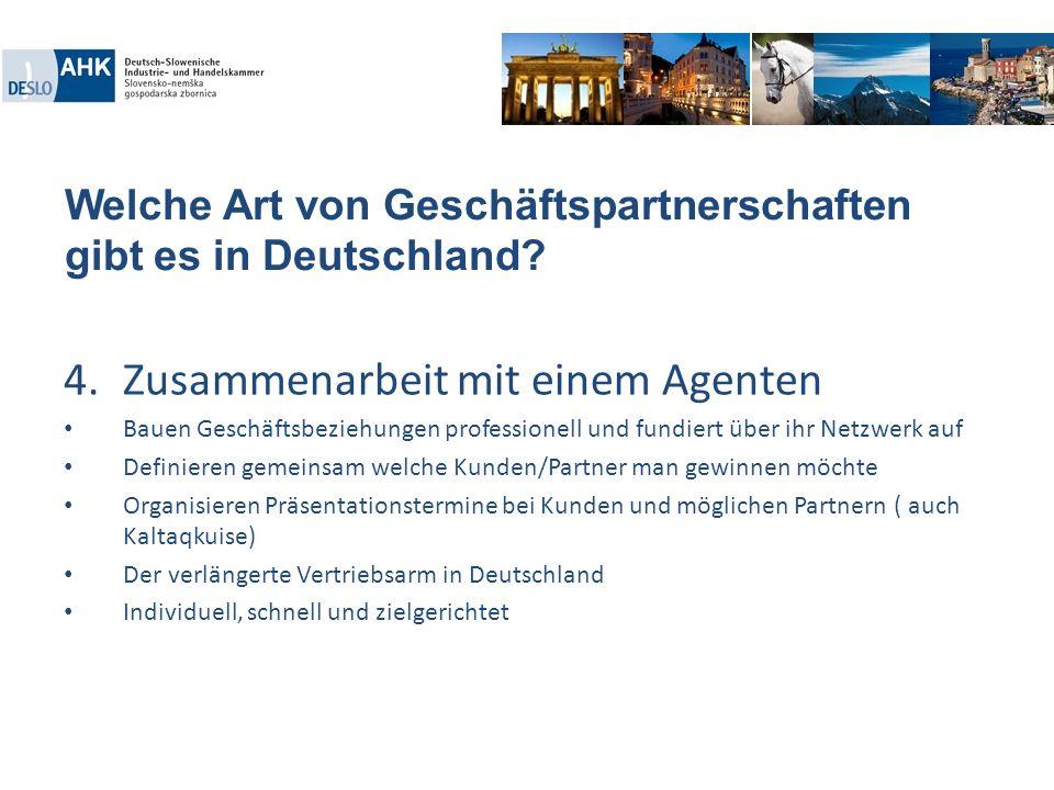 Welche Art von Geschäftspartnerschaften gibt es in Deutschland? 4.Zusammenarbeit mit einem Agenten Bauen Geschäftsbeziehungen professionell und fundie