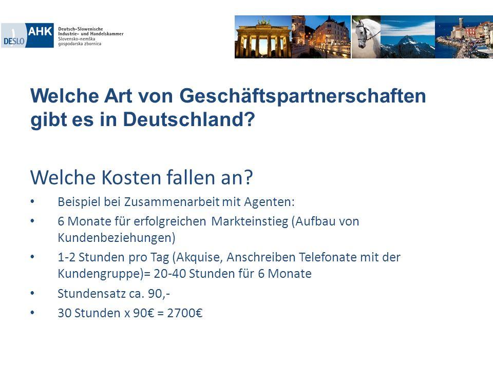 Welche Art von Geschäftspartnerschaften gibt es in Deutschland? Welche Kosten fallen an? Beispiel bei Zusammenarbeit mit Agenten: 6 Monate für erfolgr