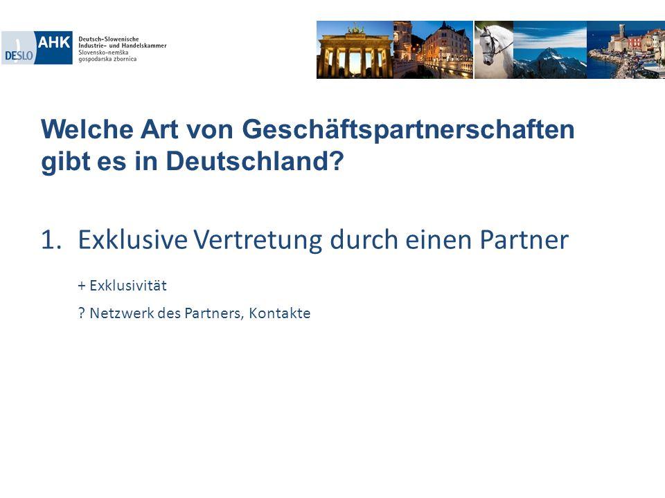Welche Art von Geschäftspartnerschaften gibt es in Deutschland? 1.Exklusive Vertretung durch einen Partner + Exklusivität ? Netzwerk des Partners, Kon