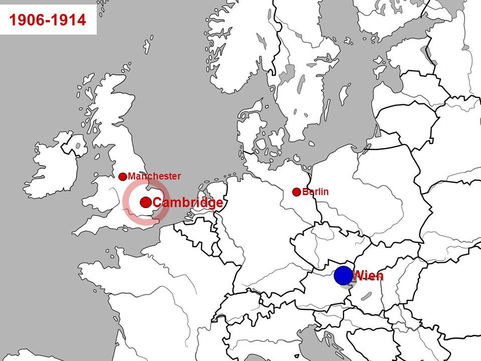 Folie 5-22: Wittgensteins Lebensweg pfadanimiertWien Berlin Cambridge Manchester 1906-1914