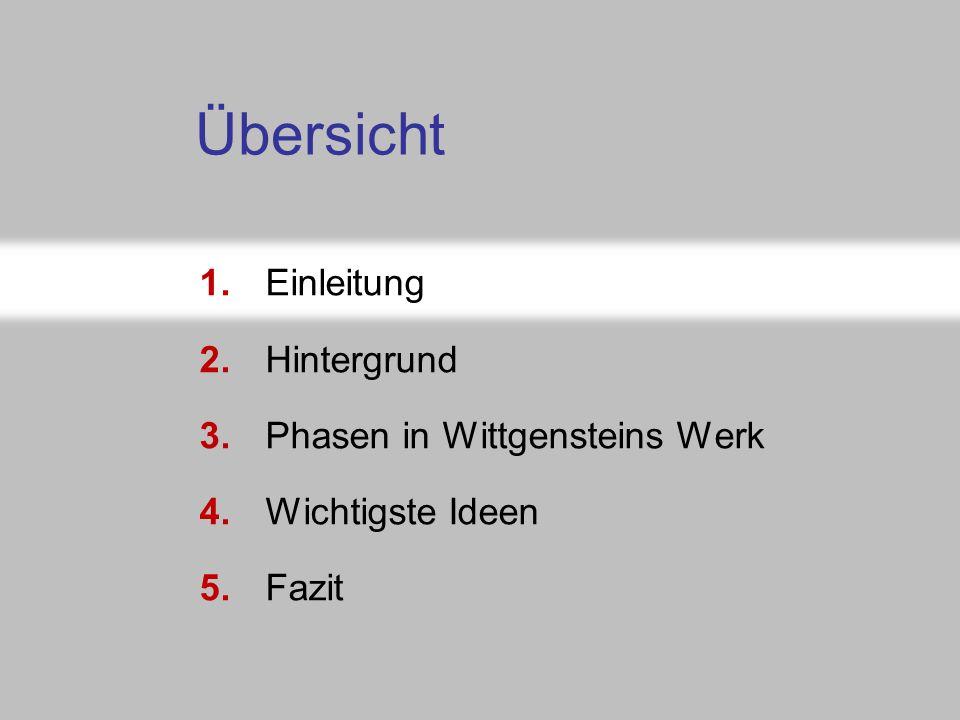 Folie 5-3a: Abschnittsnavigator 1.Einleitung 2.Hintergrund 3.Phasen in Wittgensteins Werk 4.Wichtigste Ideen 5.Fazit Übersicht