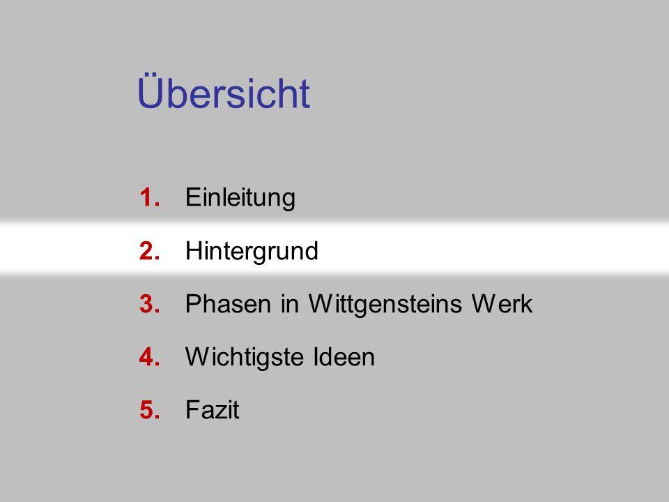 Folie 5-3b: Abschnittsnavigator 1.Einleitung 2.Hintergrund 3.Phasen in Wittgensteins Werk 4.Wichtigste Ideen 5.Fazit Übersicht