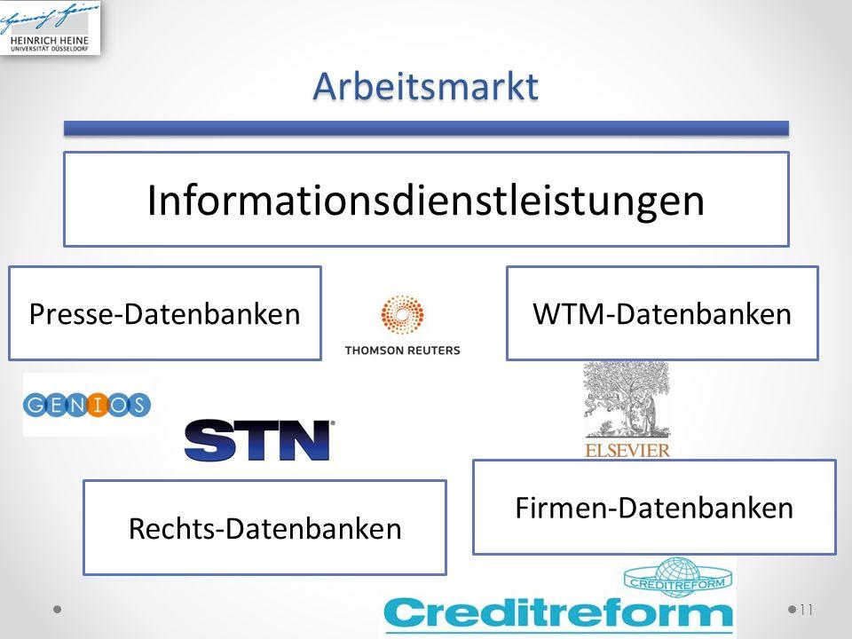 Arbeitsmarkt 11 Informationsdienstleistungen Presse-Datenbanken Firmen-Datenbanken Rechts-Datenbanken WTM-Datenbanken