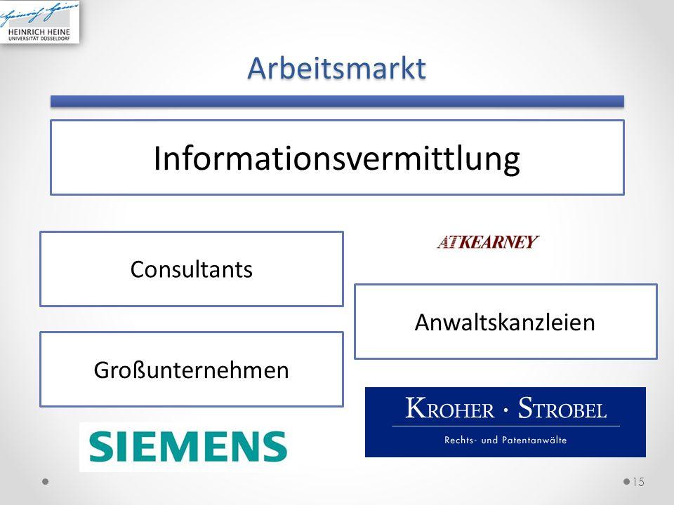Arbeitsmarkt 15 Informationsvermittlung Consultants Großunternehmen Anwaltskanzleien