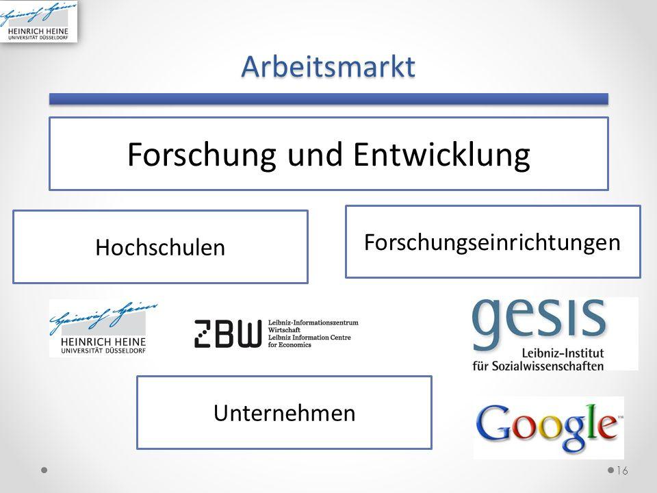 Arbeitsmarkt 16 Forschung und Entwicklung Hochschulen Unternehmen Forschungseinrichtungen