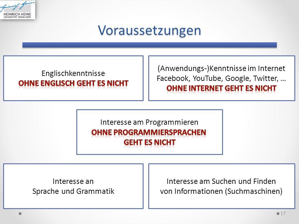 Voraussetzungen 17 Interesse am Suchen und Finden von Informationen (Suchmaschinen) Interesse an Sprache und Grammatik