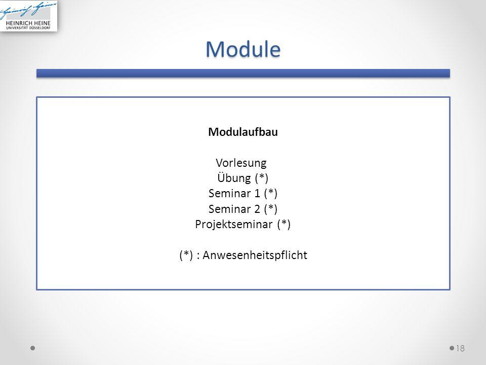 Module 18 Modulaufbau Vorlesung Übung (*) Seminar 1 (*) Seminar 2 (*) Projektseminar (*) (*) : Anwesenheitspflicht