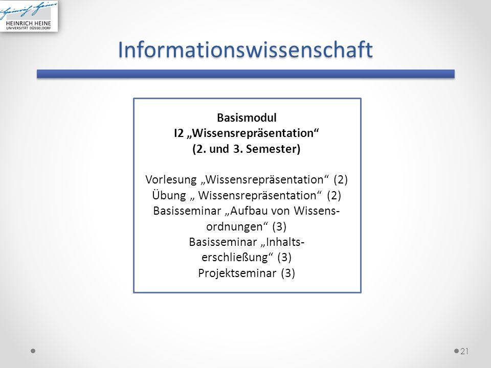 Informationswissenschaft 21 Basismodul I2 Wissensrepräsentation (2. und 3. Semester) Vorlesung Wissensrepräsentation (2) Übung Wissensrepräsentation (