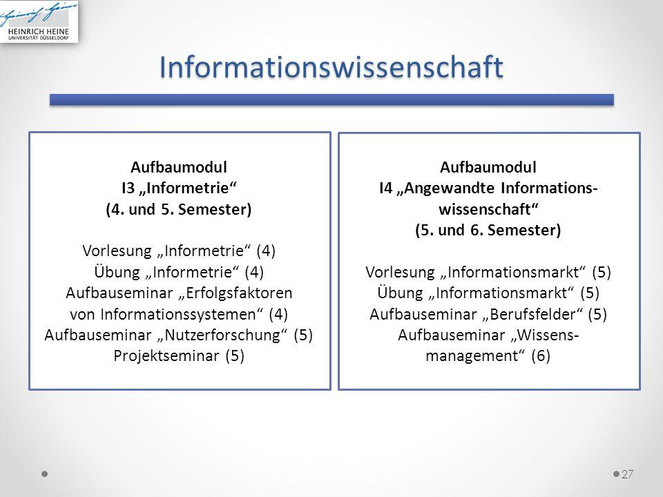 Informationswissenschaft 27 Aufbaumodul I3 Informetrie (4. und 5. Semester) Vorlesung Informetrie (4) Übung Informetrie (4) Aufbauseminar Erfolgsfakto