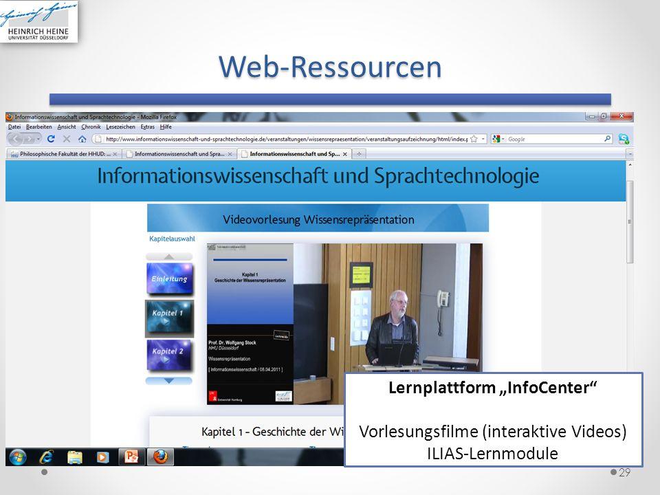 Web-Ressourcen 29 Lernplattform InfoCenter Vorlesungsfilme (interaktive Videos) ILIAS-Lernmodule