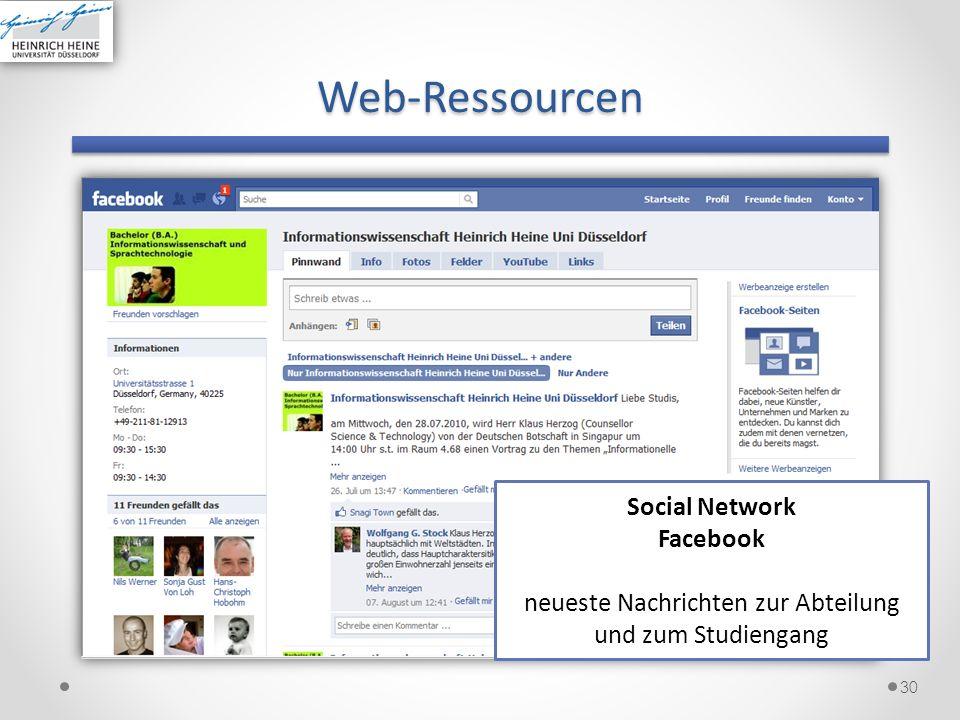 Web-Ressourcen 30 Social Network Facebook neueste Nachrichten zur Abteilung und zum Studiengang