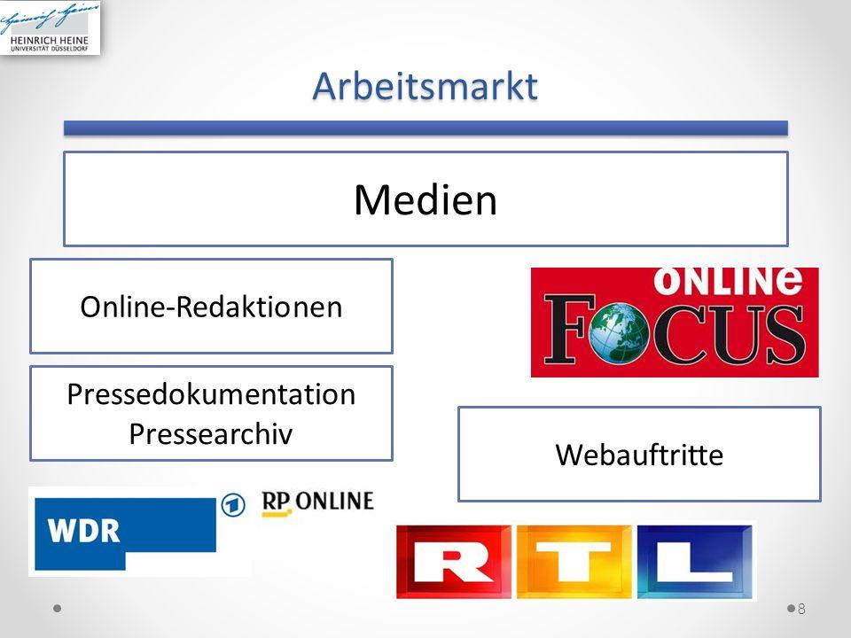 Arbeitsmarkt 8 Medien Online-Redaktionen Webauftritte Pressedokumentation Pressearchiv