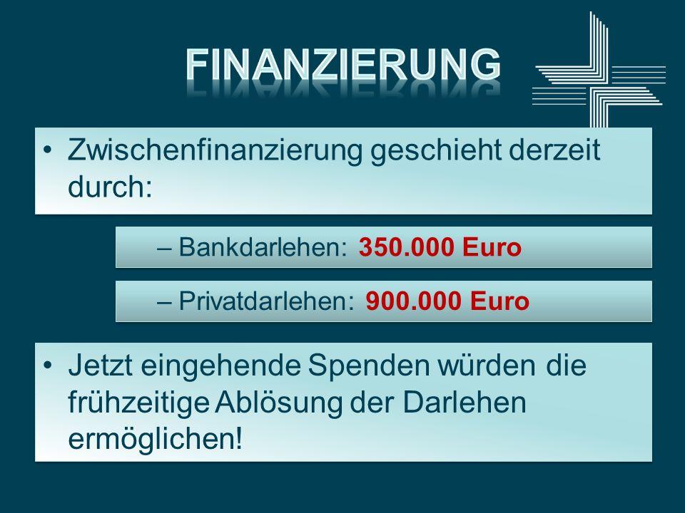 Zwischenfinanzierung geschieht derzeit durch: –Bankdarlehen: 350.000 Euro Jetzt eingehende Spenden würden die frühzeitige Ablösung der Darlehen ermögl