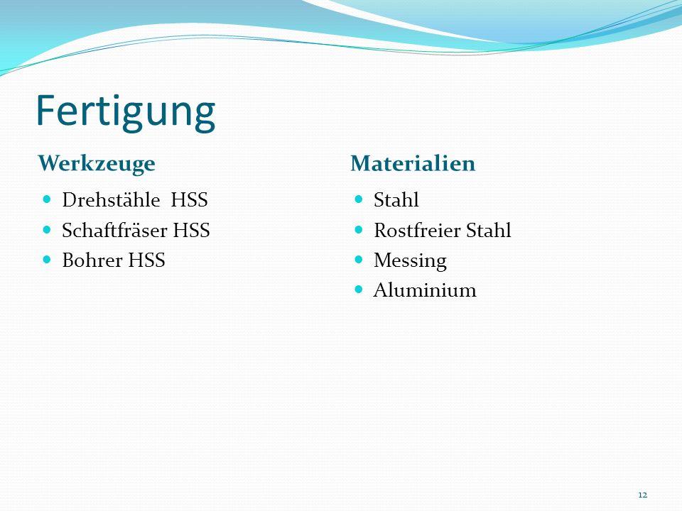 Fertigung Werkzeuge Materialien Drehstähle HSS Schaftfräser HSS Bohrer HSS Stahl Rostfreier Stahl Messing Aluminium 12