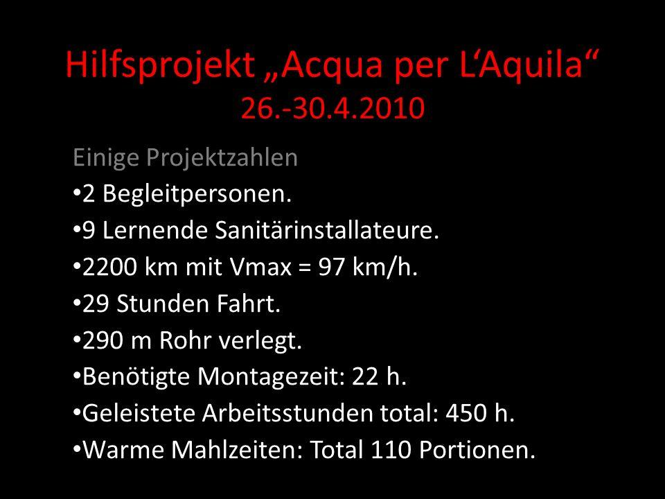 Hilfsprojekt Acqua per LAquila 26.-30.4.2010 Einige Projektzahlen 2 Begleitpersonen.