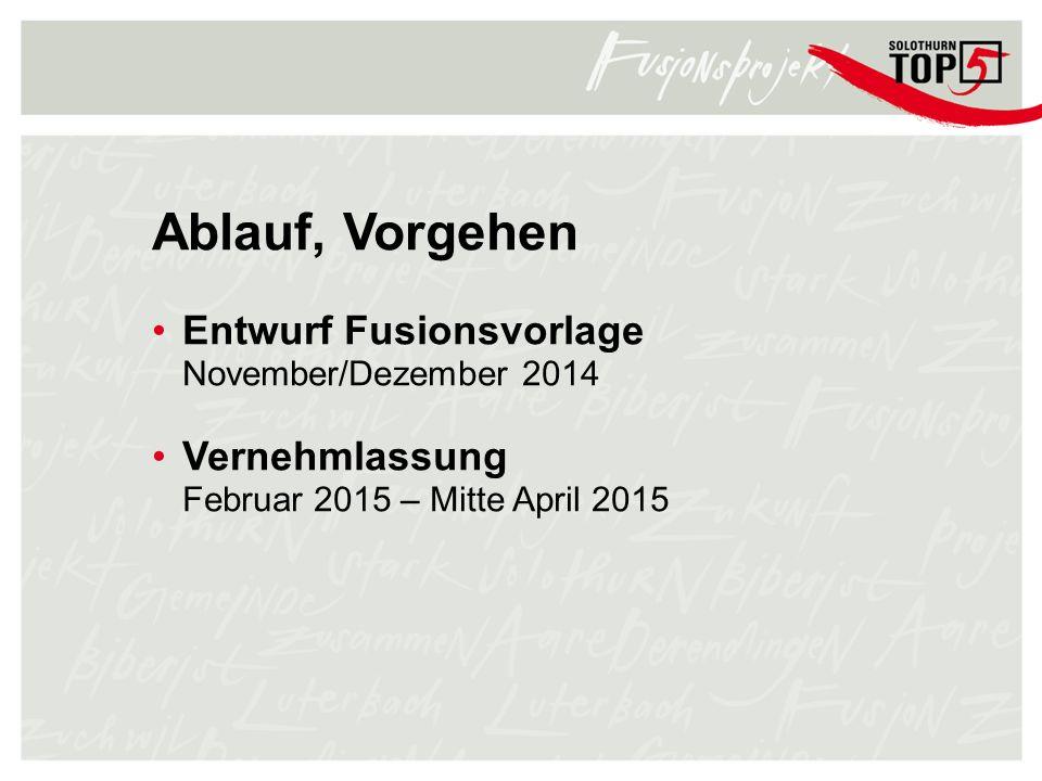 Ablauf, Vorgehen Entwurf Fusionsvorlage November/Dezember 2014 Vernehmlassung Februar 2015 – Mitte April 2015