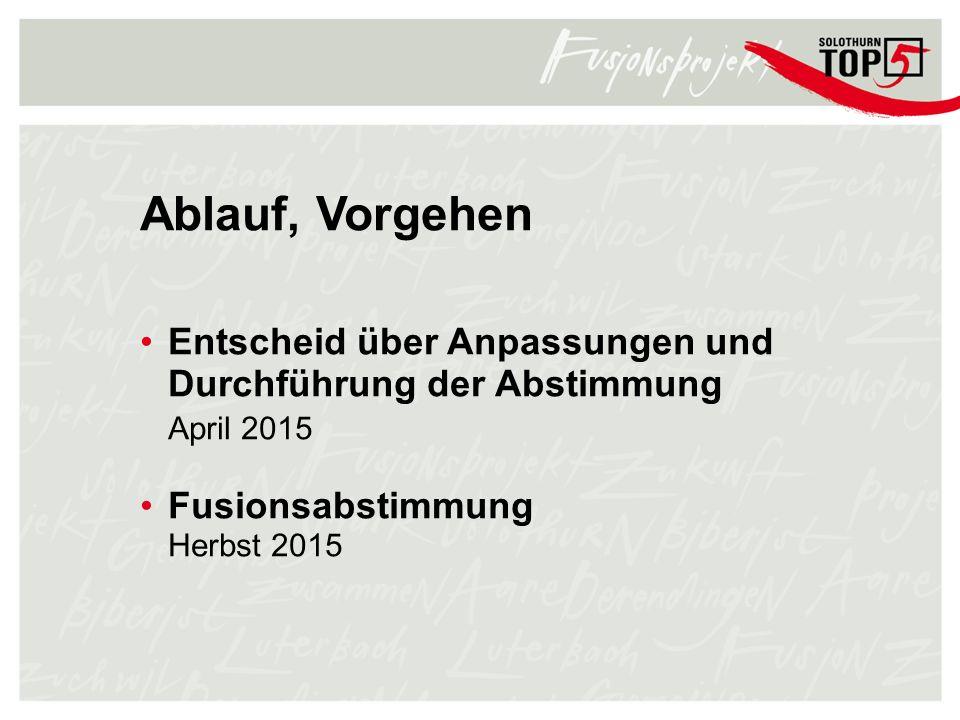 Ablauf, Vorgehen Entscheid über Anpassungen und Durchführung der Abstimmung April 2015 Fusionsabstimmung Herbst 2015