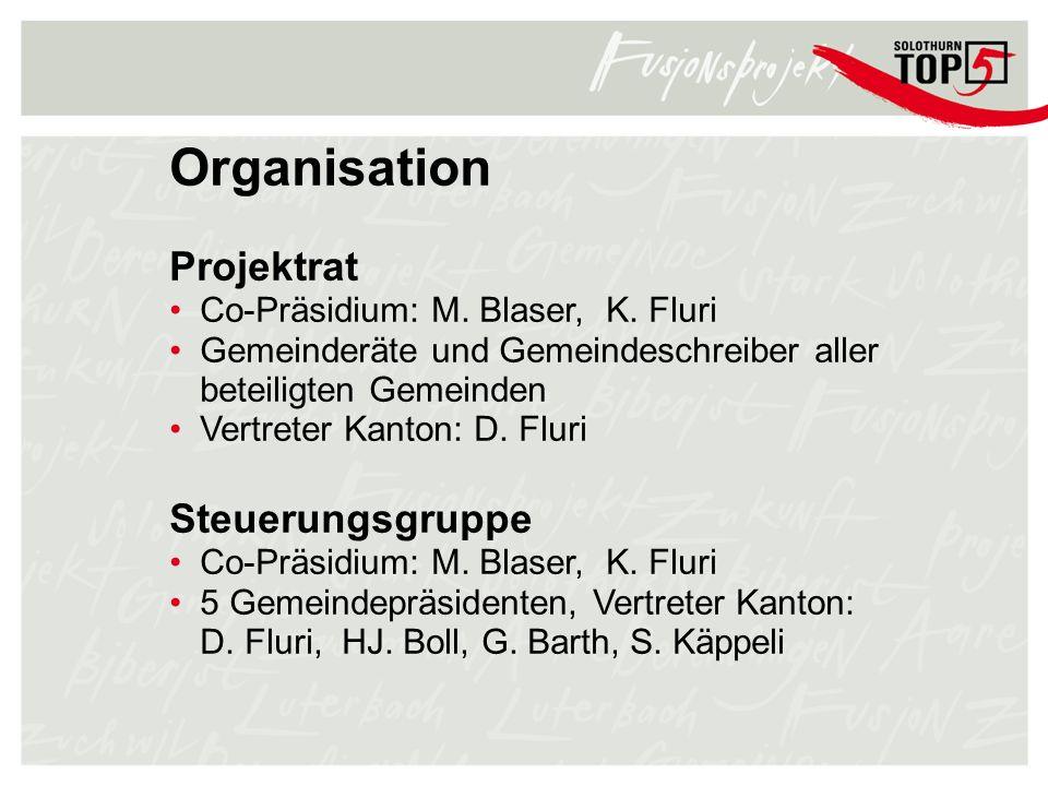 Organisation Projektrat Co-Präsidium: M. Blaser, K. Fluri Gemeinderäte und Gemeindeschreiber aller beteiligten Gemeinden Vertreter Kanton: D. Fluri St