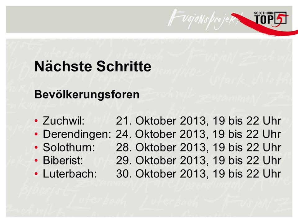 Nächste Schritte Bevölkerungsforen Zuchwil: 21. Oktober 2013, 19 bis 22 Uhr Derendingen: 24. Oktober 2013, 19 bis 22 Uhr Solothurn: 28. Oktober 2013,