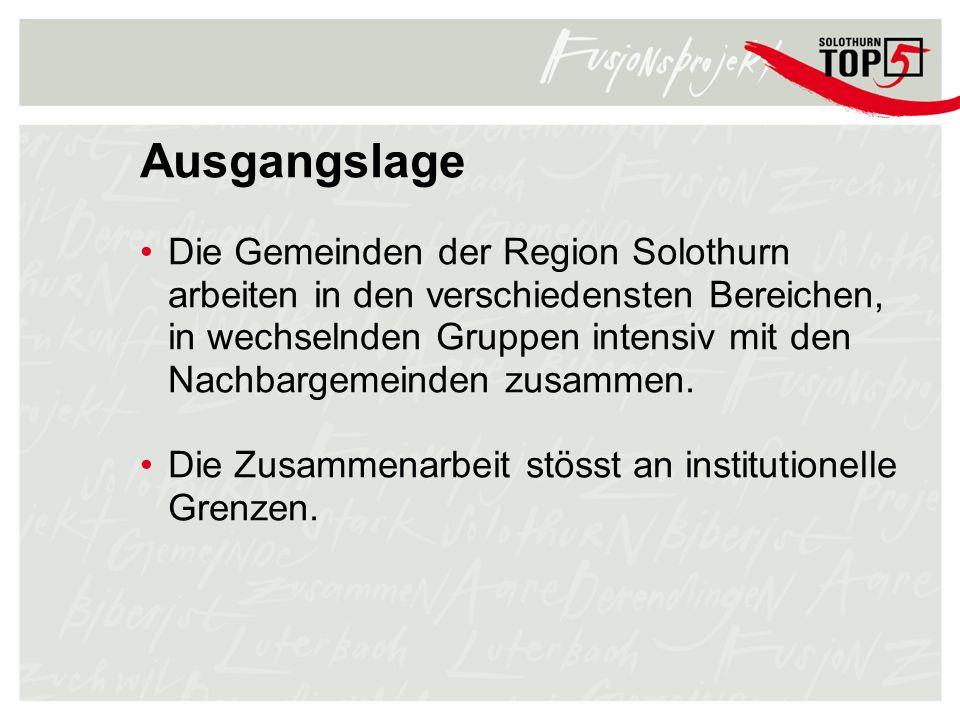 Ausgangslage Die Gemeinden der Region Solothurn arbeiten in den verschiedensten Bereichen, in wechselnden Gruppen intensiv mit den Nachbargemeinden zu