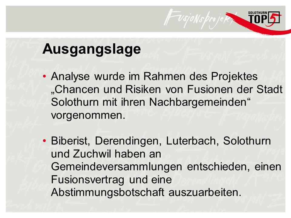 Ausgangslage Analyse wurde im Rahmen des Projektes Chancen und Risiken von Fusionen der Stadt Solothurn mit ihren Nachbargemeinden vorgenommen. Biberi